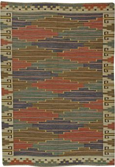 Swedish flat weave (bla leden) by Marta Maas Fjetterstrom BB5959 Item No: BB5959 Size: 11' × 7'9''  (335 x 240 cm) Circa: 1931 This elegan  flat-weave  area rug features a  repeating pattern with sophisticated colors and uncompromising Orientalist details. Fjetterstrom's global influences are revealed in the impeccably styled borders and end pieces, which display crenellated zigzag patterns and reciprocating