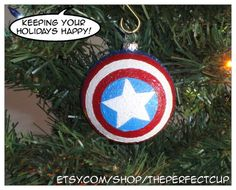 Marvel Comics inspired decorated shatter resistant ornament AVENGERS Deadpool X-MEN Hawkeye Captain America Christmas decoration nerdy geeky...