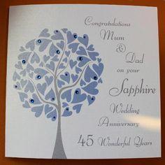 45th wedding anniversary cards