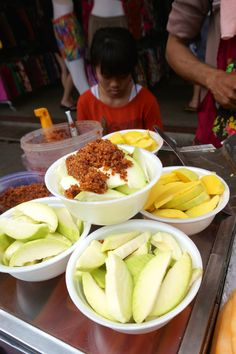Chatuchak Market JJ Market Bangkok Vendor Street Food Thai Dessert Green Mango Chili Pepper