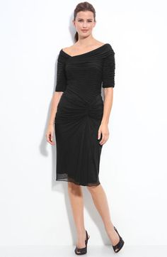 Bridesmaid:  black, ruched  cool    Tadashi Shoji Asymmetrical Ruched Mesh Dress available at Nordstrom.....So classy!!