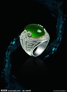 GABRIELLE'S AMAZING FANTASY CLOSET | Oval Cabochon Imperal Jade Ring Mounted in Platinum with Diamond Pave | You can see the Rest of the Outfit and my Remarks on this board. - Gabrielle