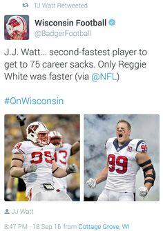 Wisconsin Football Twitter- 9.18.16 - 75 Career sacks! - #GOAT #Justincredible #JustAKidFromPewaukee  #DreamBigWorkHard #HuntGreatness