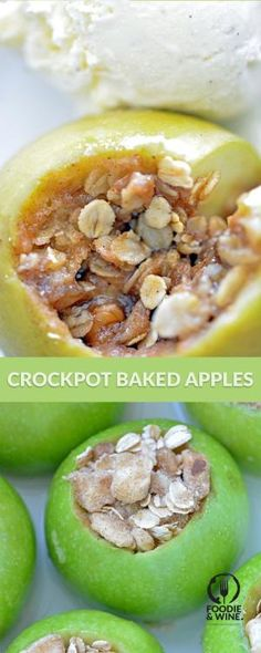 Crockpot Baked Apples with a scoop of vanilla ice cream is the perfect fall weather dessert recipe. Holiday recipes don't have to be complicated. This one will impress your guests. by elise