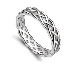 Celtic Knot Engagement Ring Eternity Ring Wedding Silver Ring Woman... (67 BRL) ❤ liked on Polyvore featuring jewelry, rings, silver jewellery, silver eternity ring, celtic knot engagement ring, silver jewelry and eternity band ring