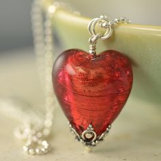 South Paw Studios Handcrafted Designer Jewelry - Red Venetian Glass Heart Necklace on sterling silver chain