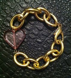Gold and Pink Heart Bracelet
