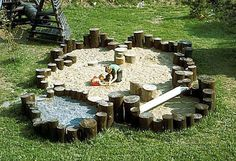 sand & rock pit with stumps for balancing