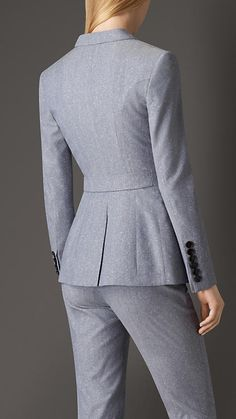 Pale blue Slim Fit Wool Silk Jacket | Burberry