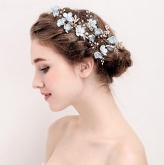 Hair Jewelry The Natural Boho Flower Hair Pins and Combs are of natural beauty. The ice blue and gold adds the perfect shimmer to an elegant bohemian style. The bridal hair accessory is a perfect fit for a bride or her bridesmaids. Bridal Hair Flowers, Bridal Hair Pins, Bridal Tiara, Gold Flowers, Pearl Bridal, Blue Bridal, Bridal Gown, Wedding Party Hair, Hair Comb Wedding