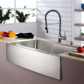 "Found it at AllModern - Kitchen Combo 33"" x 20"" Single Bowl Farmhouse Stainless Steel Kitchen Sink with Faucet"