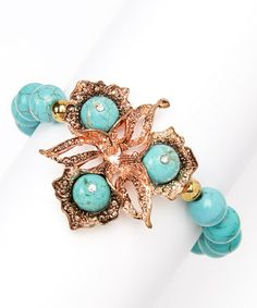 Look what I found on #zulily! Turquoise & Rose Gold Blossom Stretch Bracelet #zulilyfinds, $9 !!