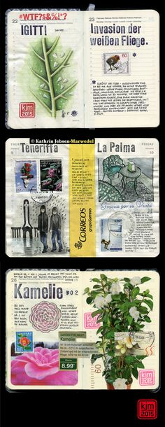 Kathrin Jebsen-Marwedel Journal - Love her use of postage and rubber stamps.