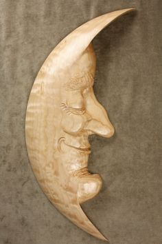 Whimsical Moon Man Wood Carving