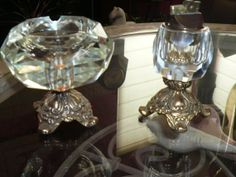 Heavy crystal ashtray and table lighter on metal by LAMOREBOHEME, $57.00