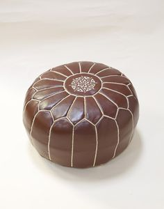 Moroccan Leather Pouffe - Brown with Beige Stitching