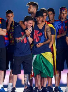 Lio and Neymar - continuing their bromance, Bartra - Unsure of what to do, Suarez - when your boo's leave you out of their joke, Pique - I woke up like this :)