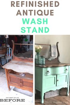 Here is everything you need to refurbish an Antique Wash Stand into a gorgeous statement piece! #thatsweettealife #refurbishedwashstand #antiquewashstand #diyfurniture #refinishedfurniture Green Painted Furniture, Painted Chairs, Chalk Paint Furniture, Colorful Furniture, Furniture Update, Diy Furniture Projects, Furniture Makeover, Home Furniture, Antique Wash Stand