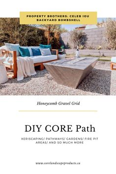 Create your OWN backyard oasis with CORE Path. DIY friendly, our gravel stabilizing grid is an affordable and accessible option for all! Outdoor Sofa, Outdoor Furniture Sets, Outdoor Decor, Outdoor Projects, Garden Projects, Glow Stones, Garden Fire Pit, Fire Pit Area, Property Brothers