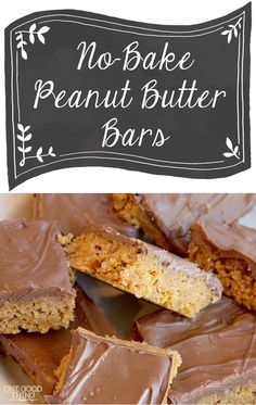 No-Bake Peanut Butter Bars - hmm . . . how to make these without refined sugar. Maybe coconut & oat flour with honey.