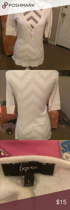 Express knit top Express knit top. 100% Pima Cotton size large color white Express Tops Tees - Long Sleeve