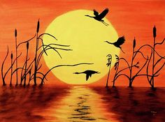 Geese Painting - Sunset Geese by Teresa Wing Easy Paintings, Landscape Paintings, Landscape Rake, Acrylic Painting Canvas, Canvas Art, Silhouette Painting, Bird Artwork, Painting Wallpaper, African Art