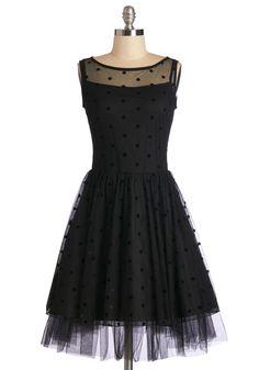 Little black dress - love the polka dots over tulle