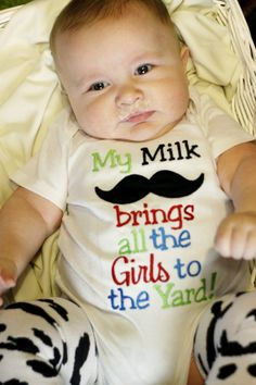imaddicted's save of My Milk Mustache Brings All the Girls to the Yard Applique Shirt or Onesuit- Baby Boy Mustache Onesuit- Funny Mustache Onesuit- Mustache Shirt on Wanelo