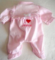 Pink Doll Clothes Baby Onesie Footed Sleeper Pajamas: I Love (Heart) Jesus RareC