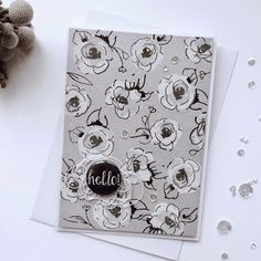 Grey and Altenew Flower Card / Gray and Flower card
