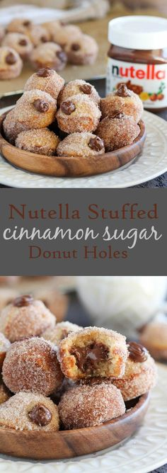 NUTELLA vanilla donut holes coated in cinnamon sugar and filled with creamy Nutella. Use a mini muffin pan for these addictive homemade donuts. No frying