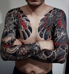 Japanese tattoo sleeves by @gotch_tattoo.  #japaneseink #japanesetattoo #irezumi #tebori #colortattoo #colorfultattoo #cooltattoo #largetattoo #armtattoo #chesttattoo #tattoosleeve #dragontattoo #spidertattoo #blackink #blacktattoo #wavetattoo #naturetattoo