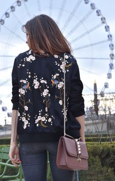 On Sale: $65 - A Black Bomber Jacket with Embroidery of Floral from Pasaboho. This jacket exhibits brilliant colours with unique embroidered flowers and birds. Inspired by street style 2017 and the latest fashion trends. Fashion trend and styles from hippie chic, modern vintage, gypsy style, boho chic, hmong ethnic, street style, geometric and floral outfits. We Love boho style and embroidery stitches. Free Spirit hippie girls sharing woman outfit ideas.