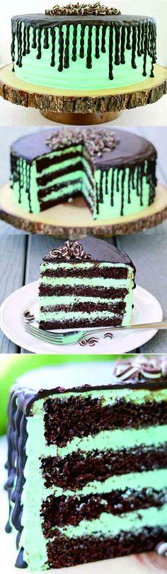 MINT CHOCOLATE CAKE - cake, cheese, chocolate, cookie, dessert, mint, recipes, tart, yogurt