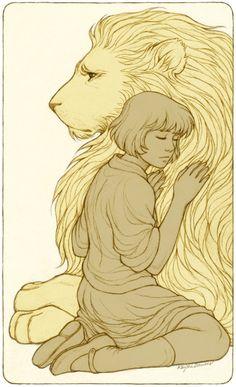 Aslan and Lucyin Convention Reviews, Fanart, Fanart - comics, video games, TV, movies, books, Original Art - also folklore, lit, Shakespeare, PRINTS