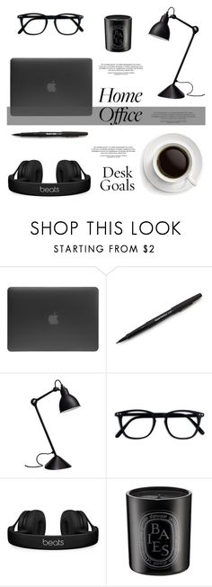 """""""Desk Decor #71"""" by viviannabas ❤ liked on Polyvore featuring interior, interiors, interior design, home, home decor, interior decorating, Incase, Paper Mate, Beats by Dr. Dre and Diptyque"""