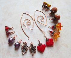 Autumn Reveries with Leaf Charms - Earring Set - Mix and Match