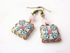 Floral print dangle earrings Floral tile Earrings by Dianthusa, €15.00