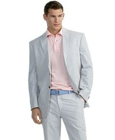 Stays Cool 2-Button Seersucker Suit- Sizes 48-52 | Men's Fashion