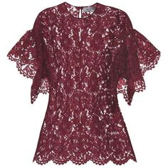 Valentino Lace Top found on Polyvore featuring tops, blouses, purple, lacy tops, purple blouse, lace blouse, purple top and valentino blouse
