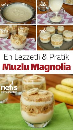 Magnolie mit Banane (mit Video) - Leckere Rezepte Magnolia with banana (with video) - delicious recipes, Strawberry Pudding, Best Banana Pudding, Banana Pudding Recipes, Healthy Desserts, Fun Desserts, Healthy Recipes, Torta Banoffee, Cupcake Recipes, Dessert Recipes