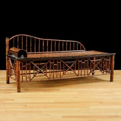 Antique Chinese Opium Bed in Bamboo with Faux Tortoise Finish, c. Asian Furniture, Chinese Furniture, Oriental Furniture, Bamboo Furniture, Vintage Settee, Antique Sofa, Antique Interior, Antique Furniture, Antiques For Sale
