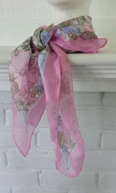 Vintage Scarf Italy Polyester Pastel Floral Large Square 33 1/2 x 33 1/2 Multi in Clothing, Shoes & Accessories, Women's Accessories, Scarves & Wraps | eBay
