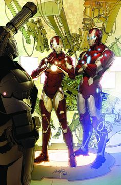 War Machine (Rhodey), Rescue (Pepper) and Iron Man (Tony).