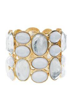 R.J.Graziano Oval Stone Wide Stretch Bracelet