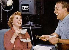 When The George Burns and Gracie Allen Show, aka The Burns and Allen Show,[1] began on CBS Television October 12, 1950, it was an immediate success. The show was originally staged live before a studio audience (during its first three months, it originated from the Mansfield Theatre in New York, then relocated to CBS' Columbia Square facilities in Los Angeles).