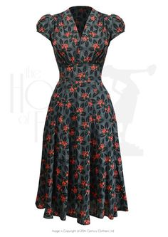 1930s Style Fashion Dresses 30s Ava Tea Dress - Busy Lizzie £135.00 AT vintagedancer.com