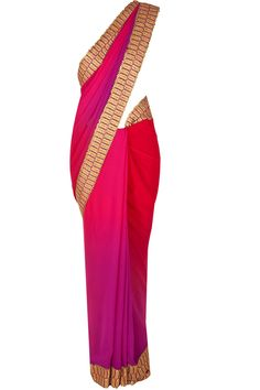 Plum and purple georgette shaded sari available only at Pernia's Pop-Up Shop.