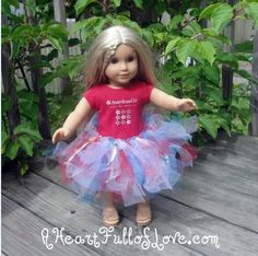 """18"""" Doll Tutu-  cut tulle approx 2""""x14"""" knot on elastic ring.  Can change up colors & add sparkly ribbon. If using mult.colors take one of each, fold in half,  then place loops inside elastic ring, wrap the ends up the front of the elastic & through the loops on the inside.  Pull only to make a loose knot. repeat around the ring approx 35 knots."""