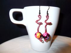 Twisted Pink Wire and Bead Earrings by SingOn on Etsy, $8.00